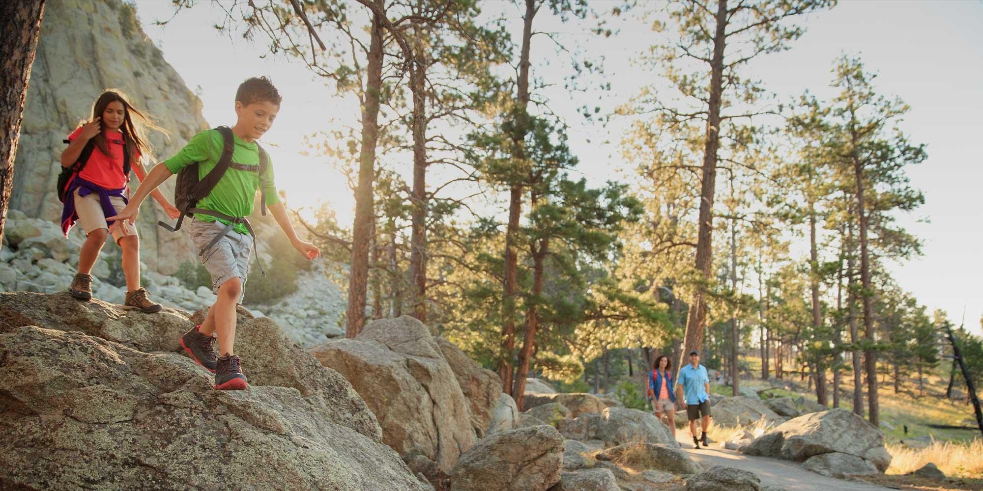 Kids hiking at Devils Tower