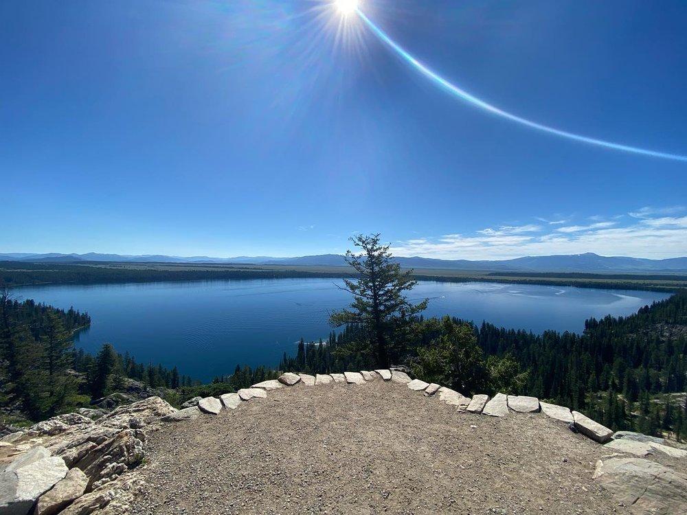 Lake reflecting the blue sky