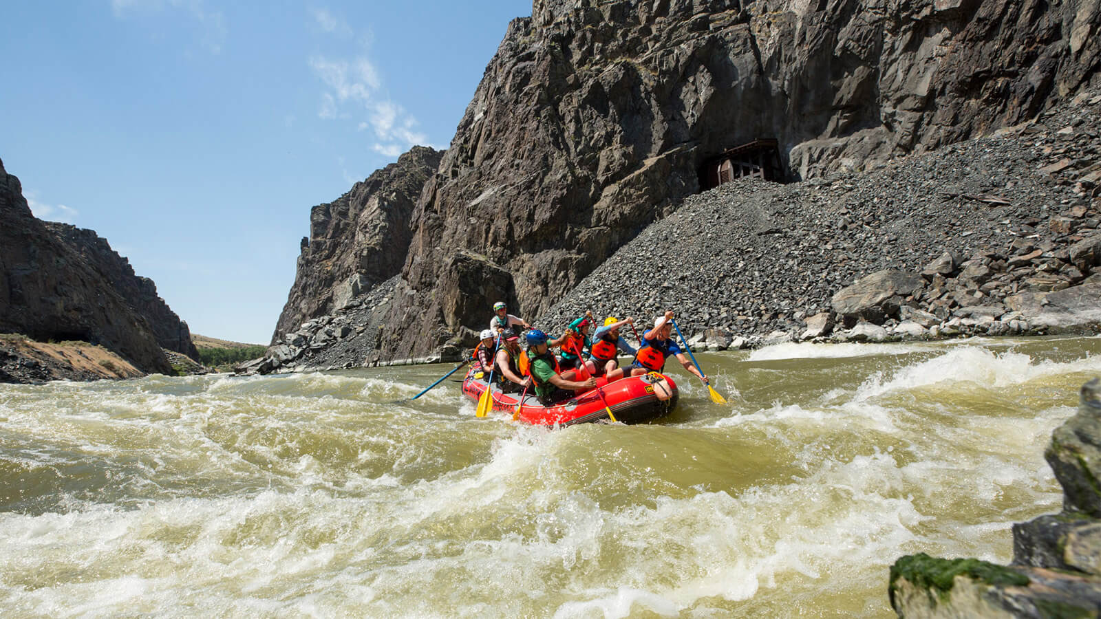 Rafters navigating white waters