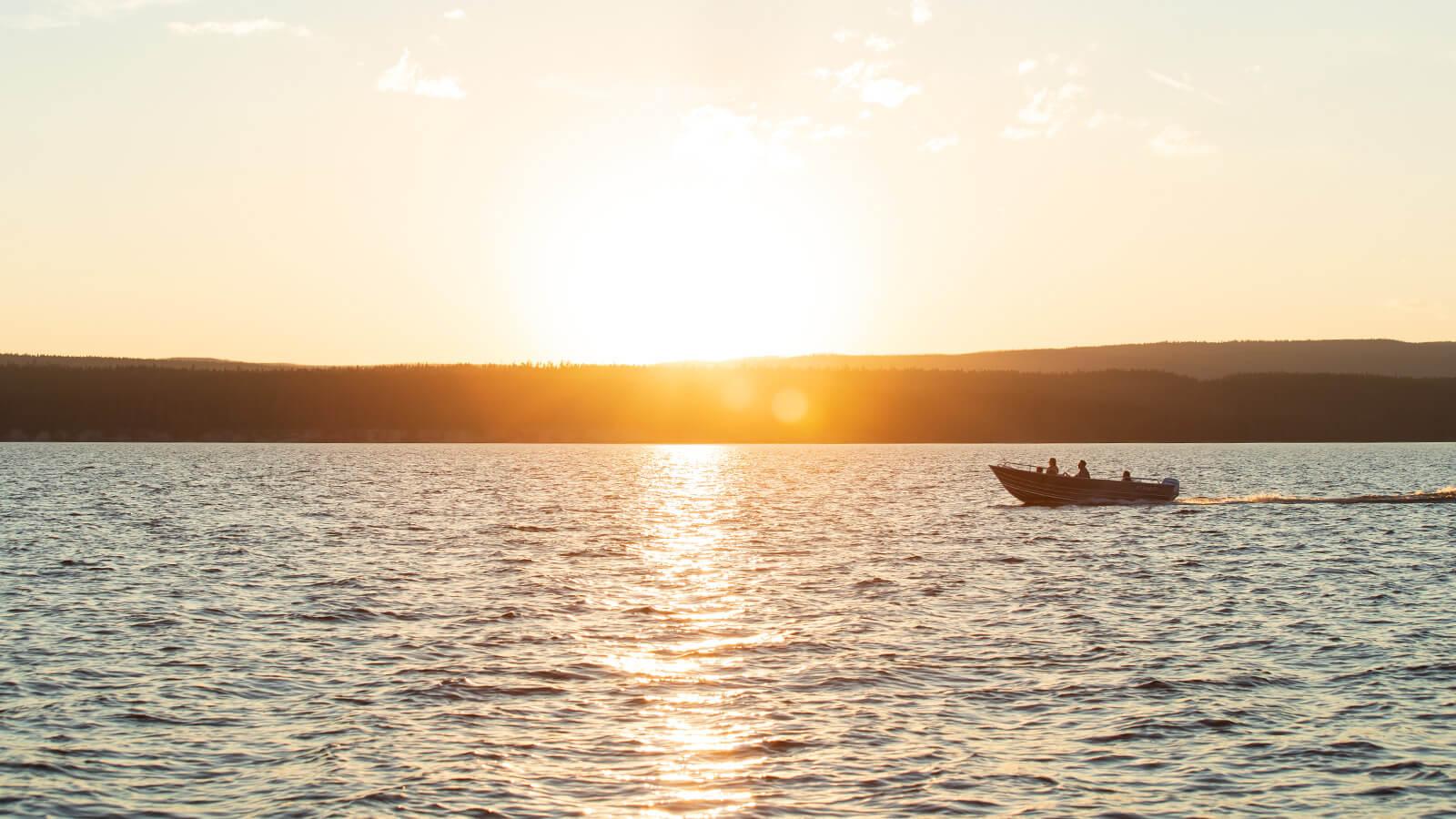 Boat driving across open water