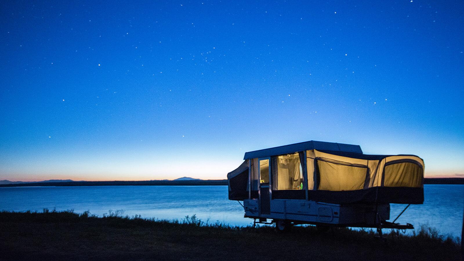 Camper under the stars