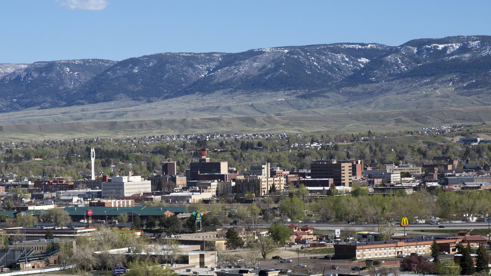 aerial view of the city of Casper