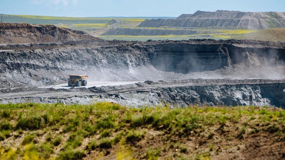 dump truck in coal mine