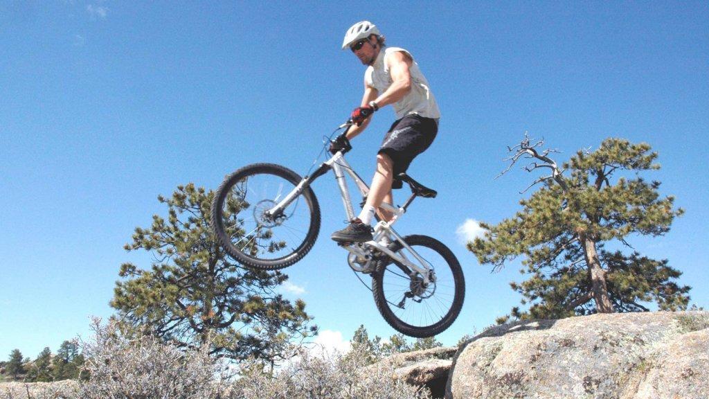 Mountain biker mid air