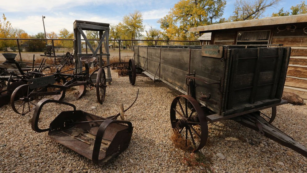 old wagon and cart outside on display