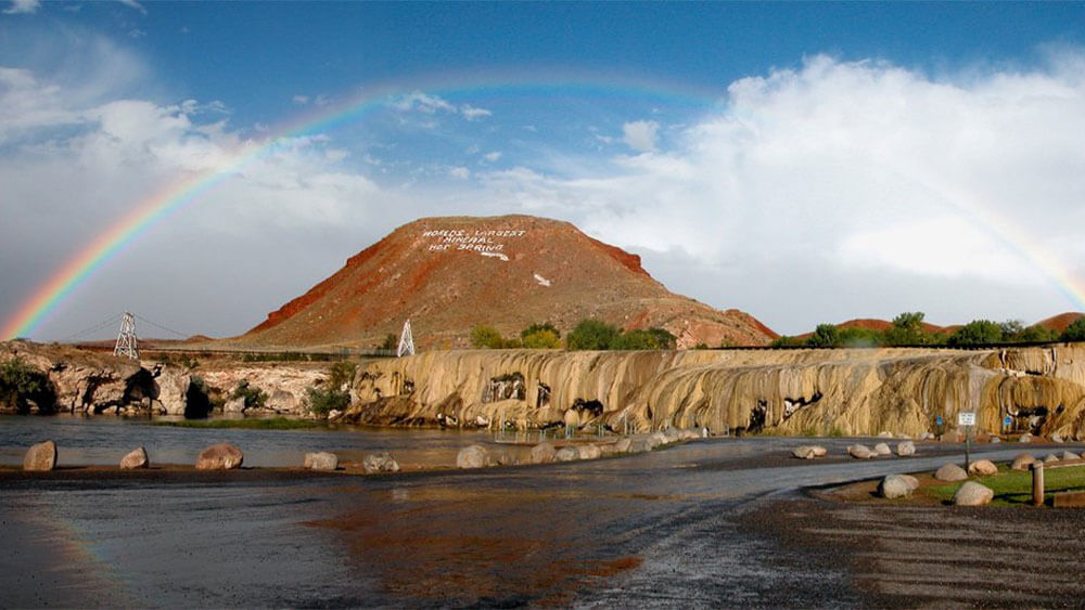 rainbow over Hot Springs State Park