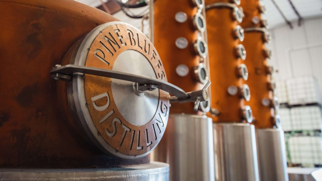 distilling equipment with logo