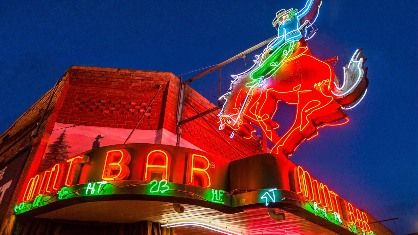 neon sign of the Mint Bar in Sheridan