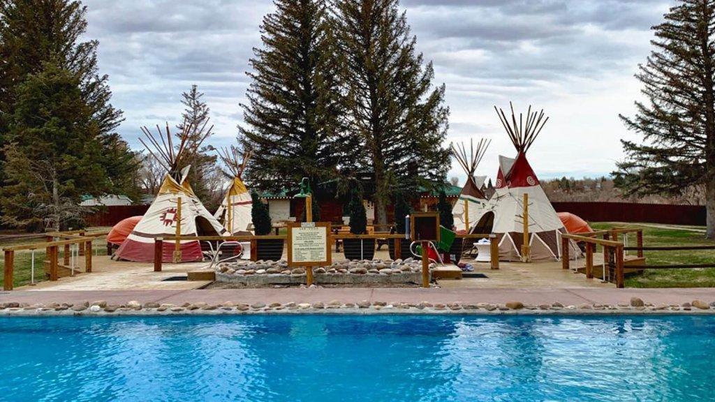 Teepee oasis next to hot springs pool