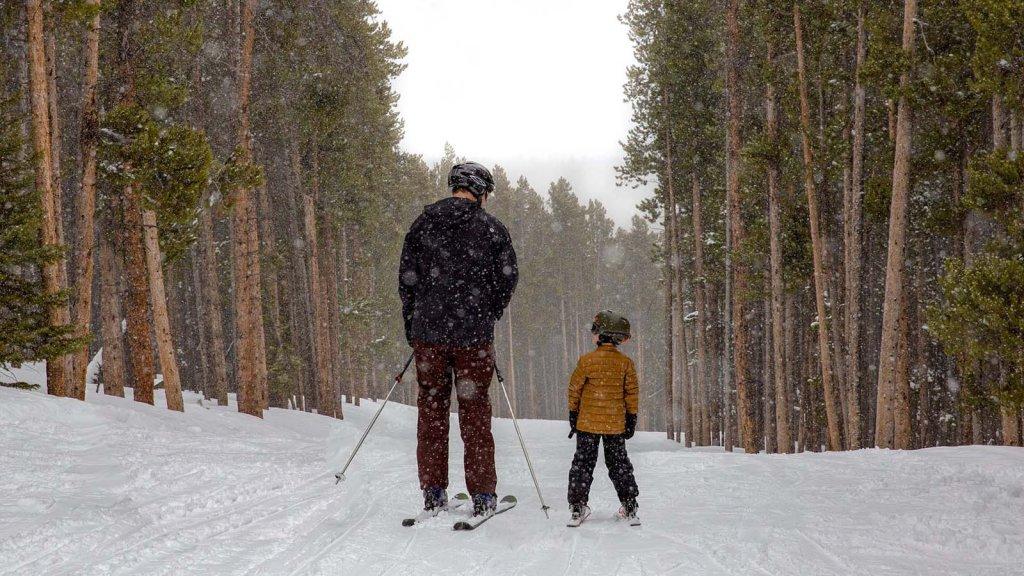 Two skiiers on ski run