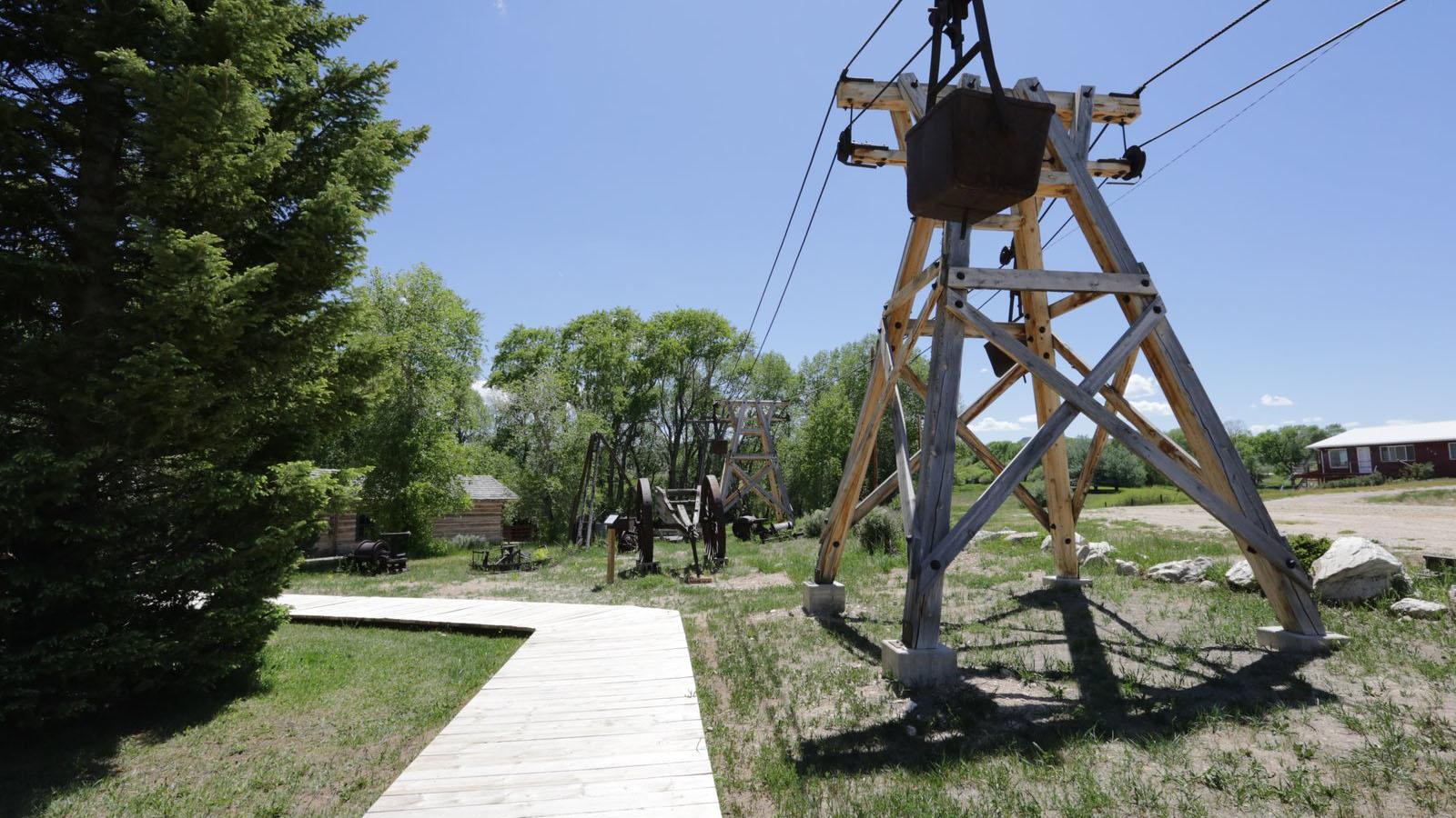 Grand Encampment Museum mining pulley in Encampment, Wyoming.