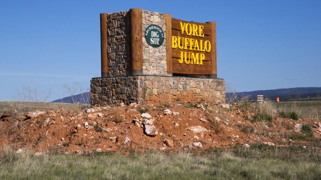 Vore Buffalo Jump Road Sign