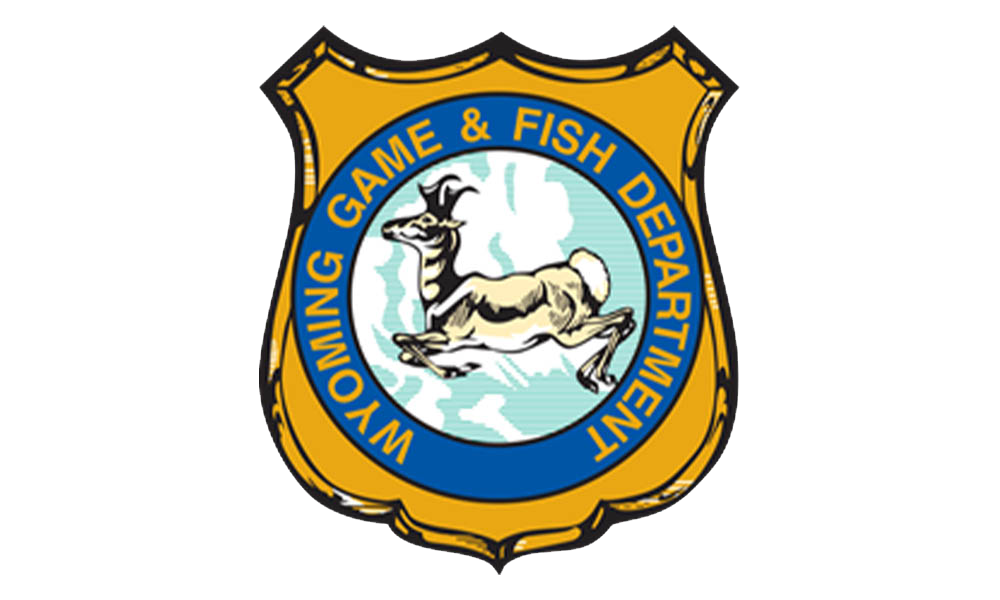 Wyoming Game & Fish Department Logo. Yellow badge with black accents. A blue circle with the words Wyoming Game & Fish Department in yellow around the circle with an image of an Antelope in the middle