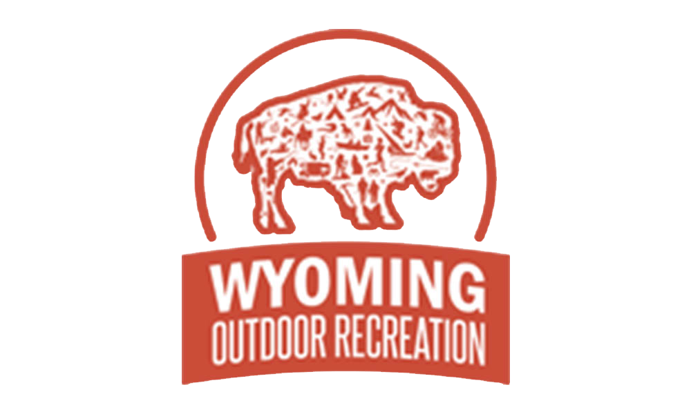 Wyoming outdoor Recreation logo Red semi circle with a white buffalo with a red outline with red images of outdoor activities inside the buffalo. There is a read banner across the bottom with white lettering with the words Wyoming Outdoor Recreation