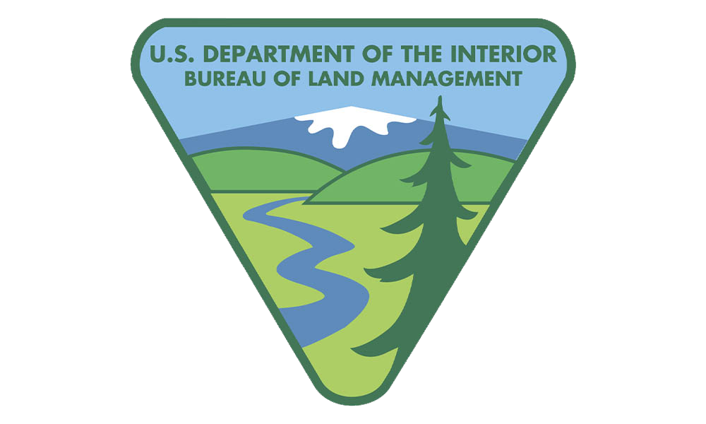 U.S. Department of the Interior Bureau of Land Management Logo- stream through the prairie to the hills and mountains.