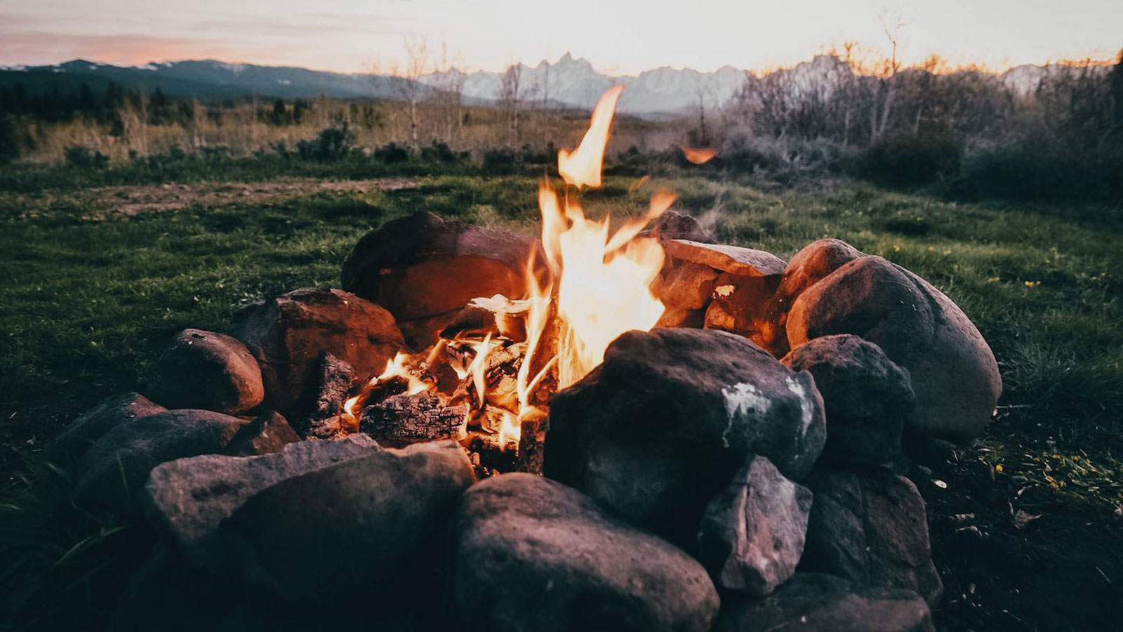 Crackling fire in a clearing.