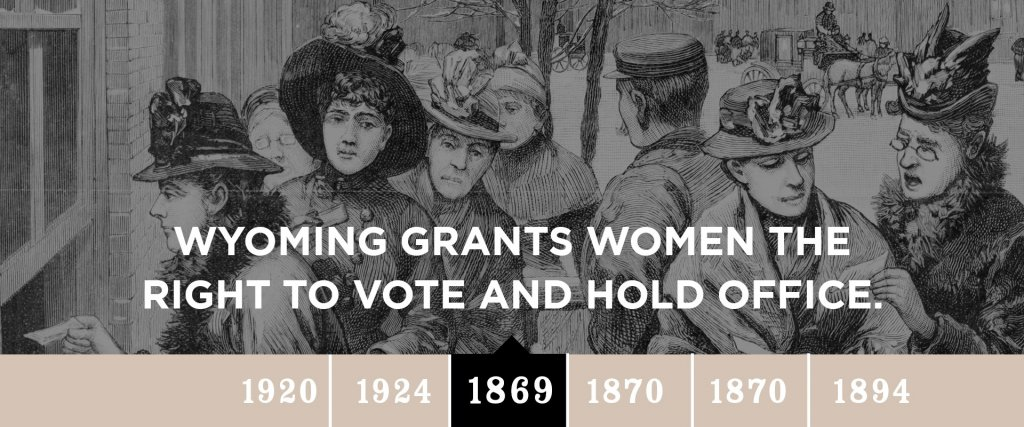 1869 - Wyoming grants women the right to vote and hold office.