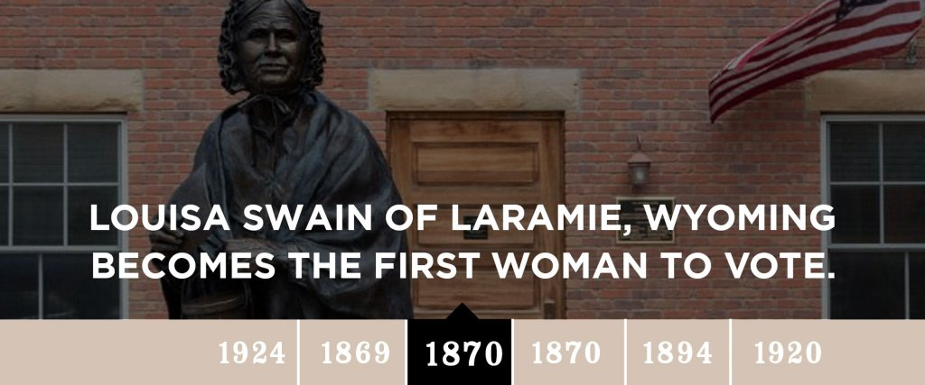 1870 - Louisa Swain of Laramie, Wyoming becomes the first woman to vote.