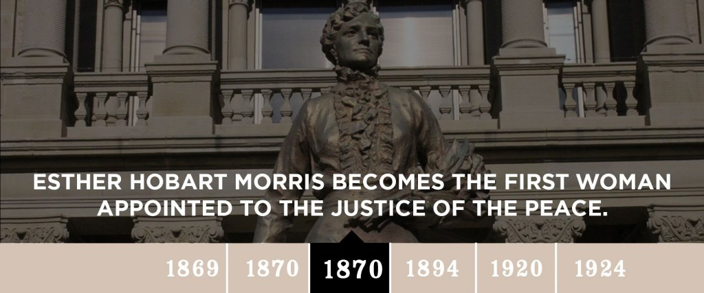 1870 - Esther Hobart Morris becomes the first woman appointed to the Justice of the Peace.