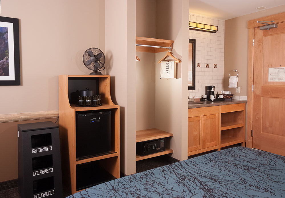 Hotel room showing Recycle containers with refrigerator, closet and sink.