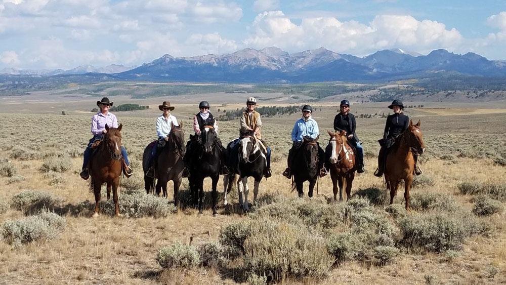 Seven women on horseback