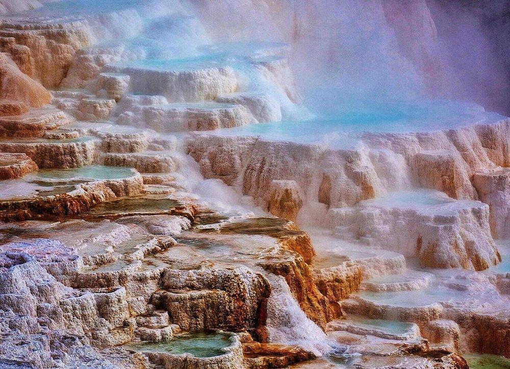 Water flowing down the rocks