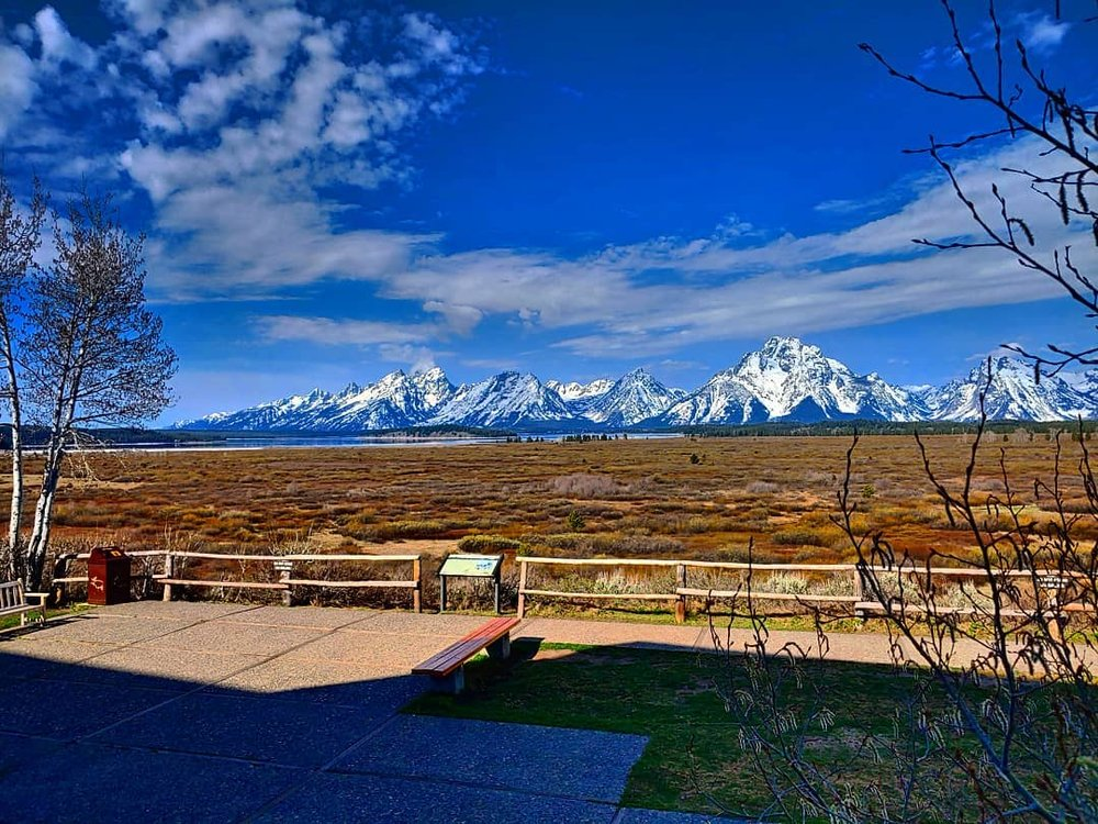 View of the Tetons from a lodge.