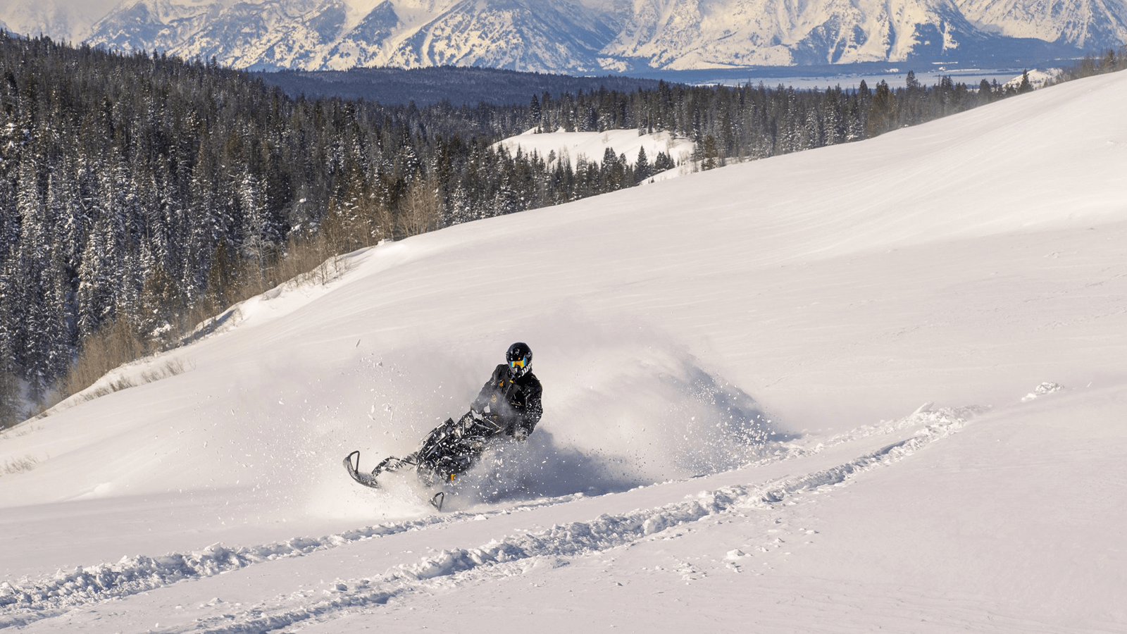 Snowmobiler spraying snow on their turn in the mountains.